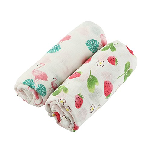 Muslin Swaddle Blanket Baby Receiving Blanket 2 pack flamingo & strawberry print Baby shower Gift for girlS Swaddle wrap 47x47inch (for girls)
