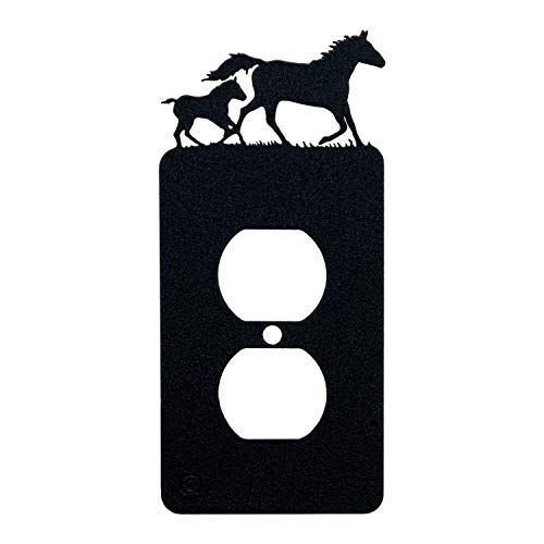 Horse Outlet Cover - Mare & Foal Horse Single Duplex Wall Plate (Single Power, Black)