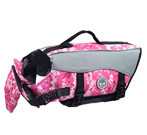 (Vivaglory Dog Life Jackets, Pet Life Vest Lifesaver Dog Life Preserver with Extra Padding for Dogs, Camo Pink, S)
