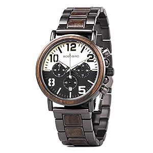 Wooden Men Watch Luxury Stylish Chronograph Military Quartz Wood Wirst Watch for Men Retro Classic Wood Watches