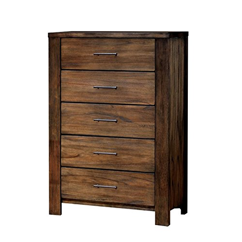 Furniture of America Gilbert 5 Drawer Chest in Oak by Furniture of America