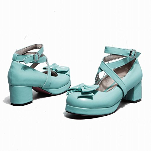 Carolbar Women's Solid Color Lovely Mid Heel Bow Buckle Court Shoes Blue Green wl7esO