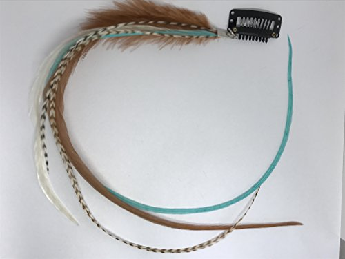 Clip on Hair Feathers, Naturals and Browns Feather Extension Real Extra Long Real (Turquoise/Browns)