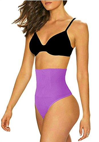 ShaperQueen 102B Thong - Women Waist Cincher Girdle Tummy Slimmer Sexy Thong Panty Shapewear (XS, Purple) - Comfort Waist Thong