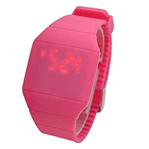 Touch Screen Unisex LED Digital Watch Wristwatch Timepiece with Gum Strap - Rose Red