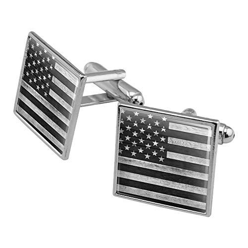 GRAPHICS & MORE Rustic Subdued American Flag Wood Grain Design Square Cufflink Set Silver ()