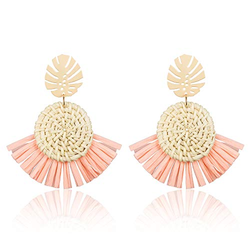 Large Leaf Earrings - Straw Wicker Braid Rattan Tassel Earrings Women Woven Palm Leaf Stud Raffia Tassel Earrings Round Disc Drop Dangle Earrings for Girls (White Disc, Pink Tassel)