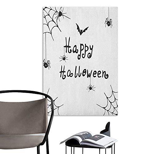 Jaydevn Scenery Wall Sticker Spider Web Happy Halloween Celebration Monochrome Hand Drawn Style Creepy Doodle Artwork Black White bar Cafe Poster W16 x H20