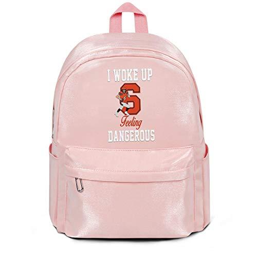 - LKM-Ykan Womens Girl Boys College Bookbag Classic Nylon Durable Travel Daypack Backpack I-Woke-Up-Feeling-Dangerous- College Bookbag Pink