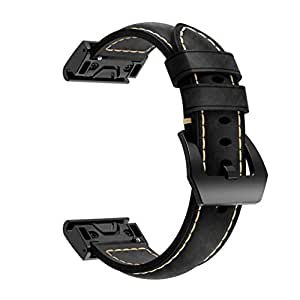 Leather Strap Compatible for Garmin Fenix 5 Watch, Quick Release Wristband, Vintage Style (Black)