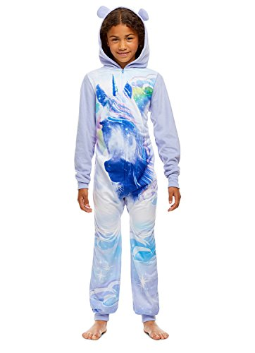 Girls Unicorn Print Pajamas | Plush Zippered Kids Onesie Blanket Sleeper - XS