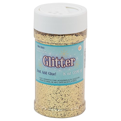 Sulyn Gold Glitter Jar, 8 ounces, Non-Toxic, Reusable Jar with Easy to Use Shaker Top, Multiple Slot Openings for Easy Dispensing and Mess Reduction, Gold Glitter, -