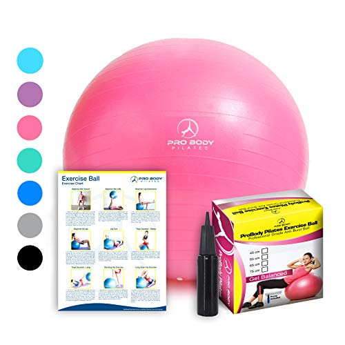 Exercise Ball - Professional Grade Anti-Burst Fitness, Balance Ball for Pilates, Yoga, Birthing, Stability Gym Workout Training and Physical Therapy (Pink, 45 cm) (Best Anti Burst Stability Ball)