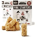 Charcoal Fire Starters (50 Count) for Webers Green Eggs Kamados And Other Grill Super Fast Lighting 100% All Natural