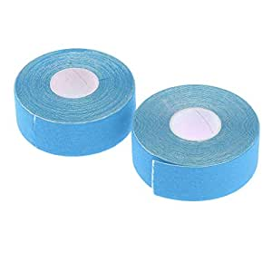 kesoto Set of 2 Elastic Adhesive Bandage Tape Kinesiology Tape Perfect Support for Athletic Sports and Physical Treatment Uncut 0.98Inch X 16.4Feet - Blue
