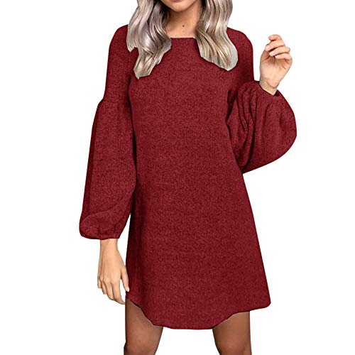(Hot Sale Women Knitted Dress DEATU Ladies Fashion Casual Solid Long Sleeve O-Neck Bandage Puff Sleeve Knitted)