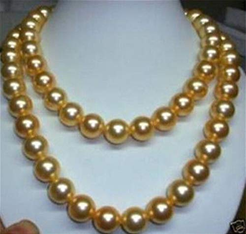 FidgetKute 8mm 10mm 12mm Gold South sea Shell Pearl Necklace 34
