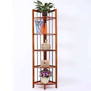 Sam@ Bamboo Corner Shelf Balcony Living Room Shelf Landing Multilayer Flower Pot Rack Plant Rack Organizer ( Size : Five layers )