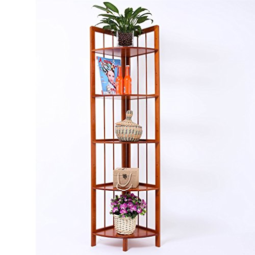 Sam@ Bamboo Corner Shelf Balcony Living Room Shelf Landing Multilayer Flower Pot Rack Plant Rack Organizer ( Size : Five layers - Mays Shopping Landing