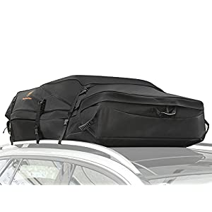Fabselection Car Roof Top Cargo Bag Box 20 Cubic Feet Works on Car with Rack or No Rack Easy to Install Soft Rooftop Luggage Carriers with Wide Straps, Best for Traveling, Cars, Vans Medium
