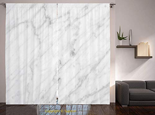 Living Room Bedroom Window Drapes/Rod Pocket Curtain Panel Satin Curtains/2 Curtain Panels/55 x 45 Inch/Marble,Carrara Marble Tile Surface Organic Sculpture Style Granite Model Modern Design,Dust Grey