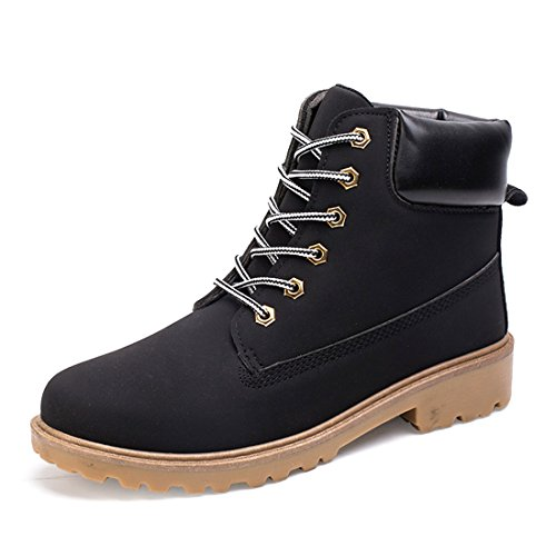 O & N Heren Hoge Top Casual Veter Martin Laarzen Snow Ankel Boot Work Shoes Zwart