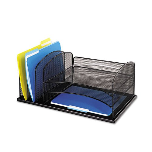 Desk Organizer, Six Sections, Steel Mesh, 19 3/8 x 11 3/8 x 8, Black ()