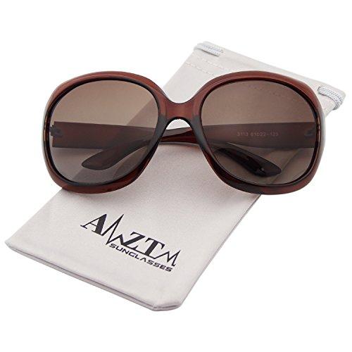 AMZTM Classic Simple Oversized Polarized Women Sunglasses All-match Large Frame Eyewear (Dark brown, - Best Sunglasses Dark