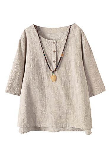Minibee Women's 3/4 Sleeve Cotton Linen Jacquard Blouses Top T-Shirt (XL, - Top Blouse Cotton