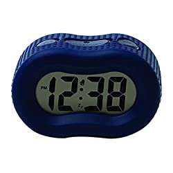 Timelink Smartlight Digital Rubber Outer Shell Alarm Clock for Bedrooms Travel, for Kids Boys, Simple Operation, Automatic Green Smart Night Light Dimmer, Large 1 Display, Snooze, Small, Blue