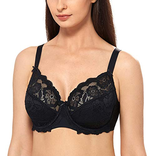 DELIMIRA Women's Full Coverage Non-Foam Floral Lace Plus Size Underwired Bra Black 40DD (Bra Underwired Skin)