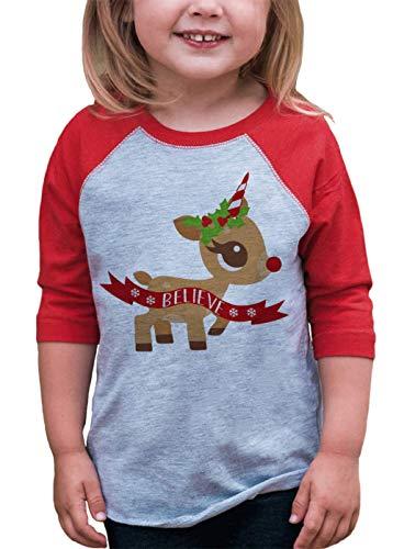 7 ate 9 Apparel Girls Christmas Unicorn Red Baseball Tee