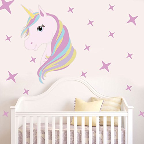 iEFiEL Cute Unicorn Animals Bling Stars Wall Decal Removal V