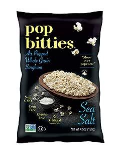 Pop Bitties Air Popped Sorghum Snack - Healthy Popcorn Alternative - 100% Ancient Whole Grains (Sea Salt, 4-pack, 4.5oz bags) Plant Based, Digest Easily, Gluten Free, No Corn or Nuts, Vegetarian