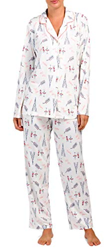 (Ellen Tracy Paris French Motif Pajamas PJ's (Cream Peach Grey Eiffel Tower French Words, Cafe Table Chair Tea,)