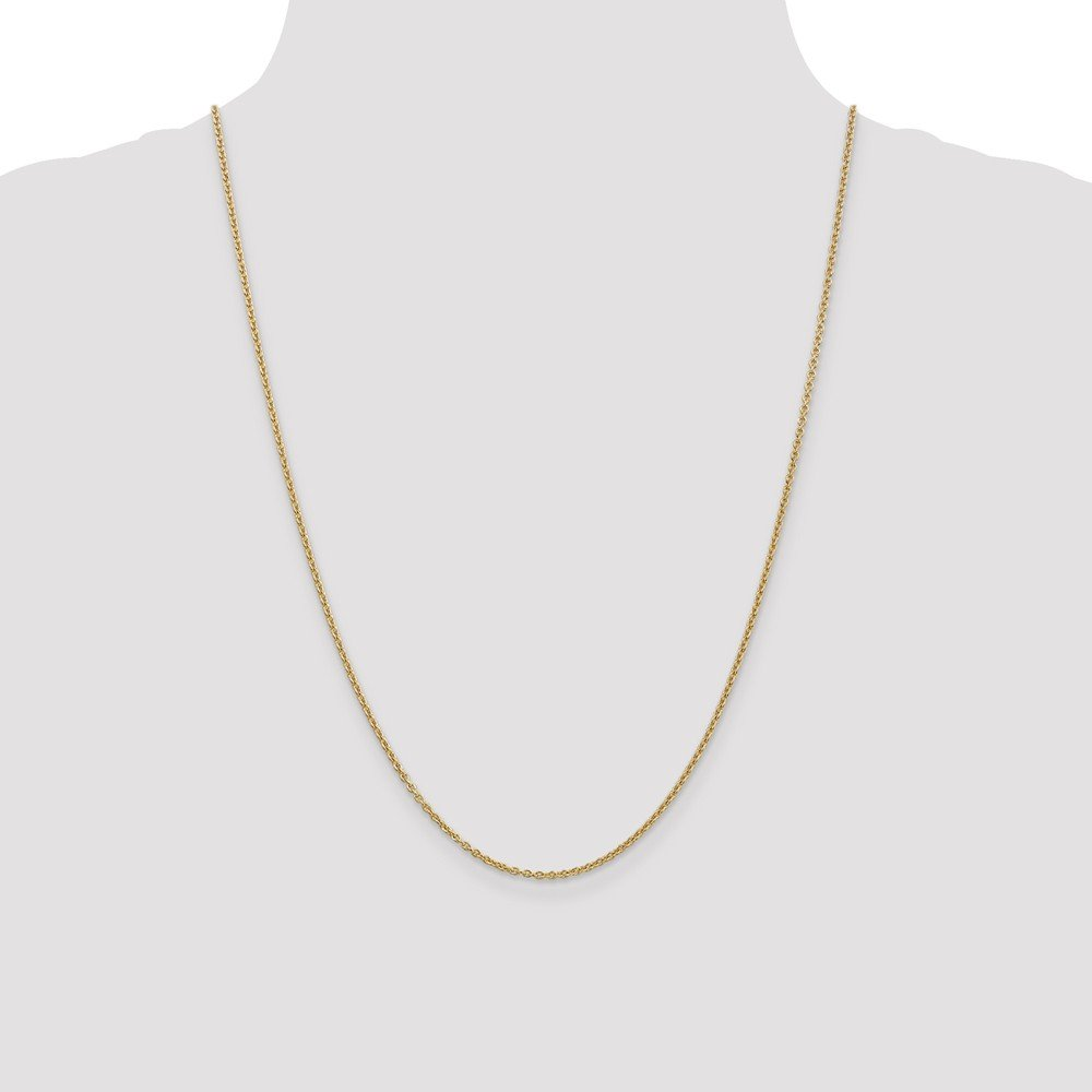 14k Yellow Gold 1.8mm Solid Polished Cable Chain with Secure Lobster Lock Clasp