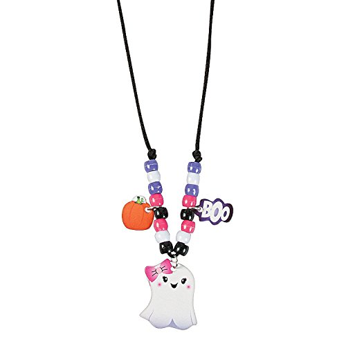 Fun Express - Halloween Ghost Necklace CK-12 for Halloween - Craft Kits - Kids Jewelry Craft Kits - Kids Necklace - Halloween - 12 -