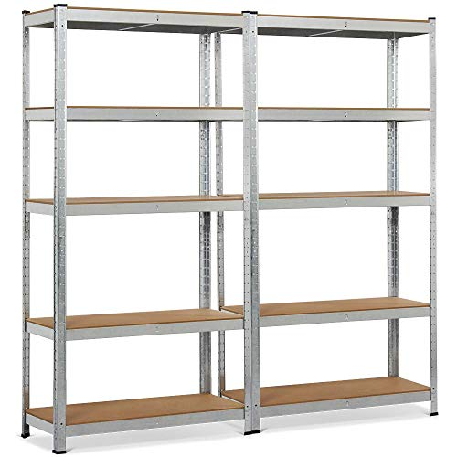"Topeakmart 5 Tier Storage Rack Heavy Duty Adjustable Garage Shelf Steel Shelving Unit,71""Height (2 Bay Garage Shelf)"
