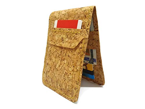 Vegan Wallet Cork Men with coin slot Rfid protect Minimalist