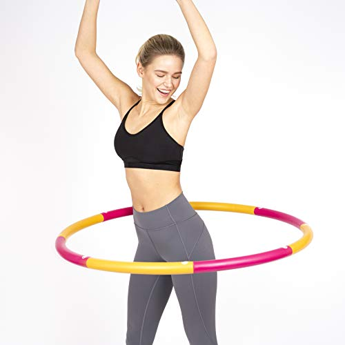 HEALTHYMODELLIFE Exercise Fitness Hoop by Healthy Model Life - Easy to Spin, Premium Quality and Soft Padding Weighted Hoop - 2lbs