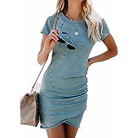 EGELEXY Women Irregular Dresses Round Neck Bodycon Short Sleeve Wrap Dress Midi Club Size S (Green)