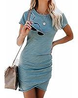 EGELEXY Women Irregular Dresses Round Neck Bodycon Short Sleeve Wrap Dress Midi Club Size L (Green)