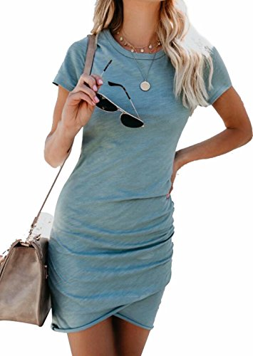 (EGELEXY Women Irregular Dresses Round Neck Bodycon Short Sleeve Wrap Dress Midi Club Size M)