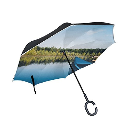 RH Studio Inverted Umbrella Boat Canoe Lake Trees Large Double Layer Outdoor Rain Sun Car Reversible Umbrella by RH Studio