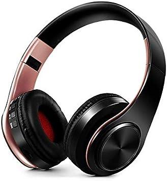 Auriculares Inalámbricos Auriculares Bluetooth Auriculares Plegables Auriculares Ajustables con Micrófono para Teléfono Pc Lattop Mp3 TV Oro Rosa Negro: Amazon.es: Electrónica