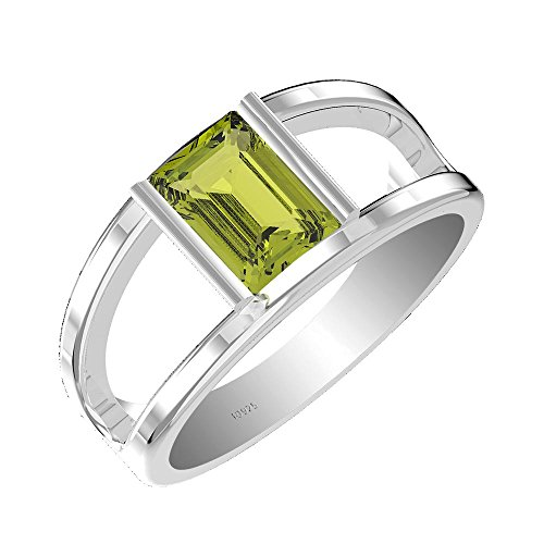 1.50ct, Genuine Peridot 6x8mm Octagon & Solid .925 Sterling Silver Ring (Size-6.5) ()