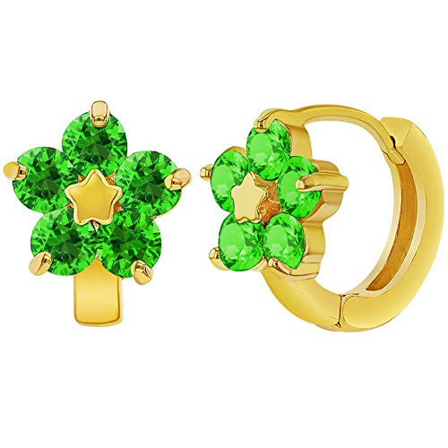 Green Earrings Huggie (18k Gold Plated Green Crystal Flower Huggie Hoop Earrings Girls Teens 0.47