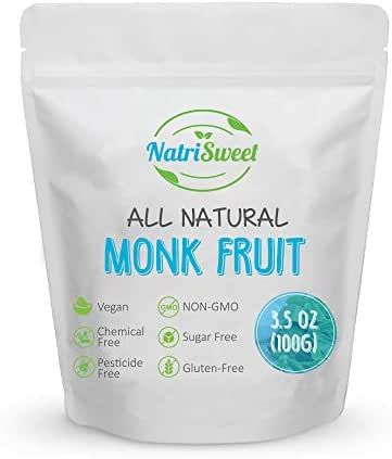 NatriSweet Monk Fruit Extract 3.5oz (100g) 322 Servings, 100% Pure, Zero Calorie, Zero Carb, Natural Sweetener, Sugar Alternative, No Artificial Sweeteners, Perfect for Keto, Paleo & Low-Carb Dieters