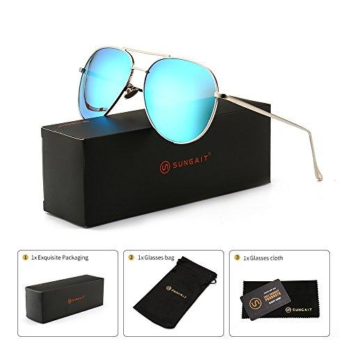 Polarized Blue Mirror Sunglasses - SUNGAIT Women's Lightweight Oversized Aviator sunglasses - Mirrored Polarized Lens Sliver Frame/Blue Mirror Lens, 60)1603YKL