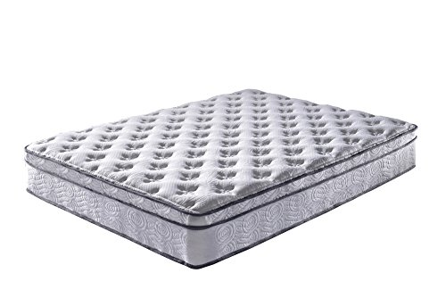 Roundhill Furniture Pillow Top Queen Size Pocket Spring Mattress, Queen